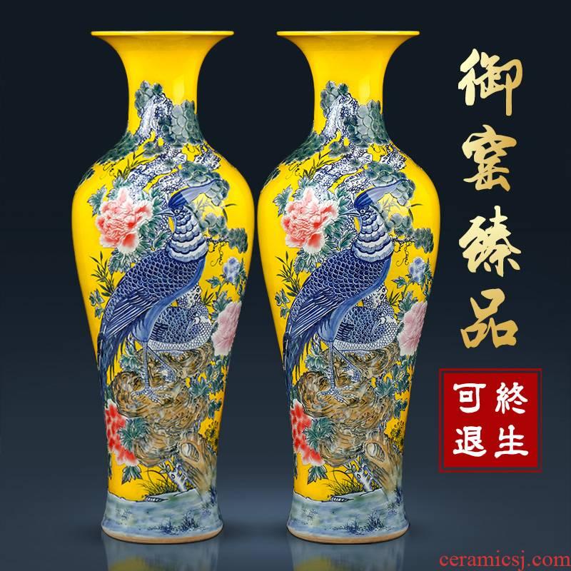 Jingdezhen ceramic big blue and white porcelain vase landed Chinese its sitting room home decoration furnishing articles housewarming gift