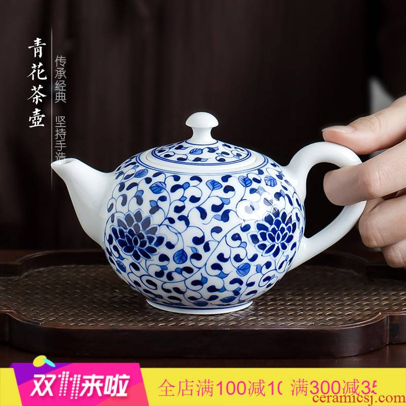 Poly real scene of jingdezhen blue and white porcelain hand draw kung fu tea pot home bound lotus flower little teapot teacup with filter single pot