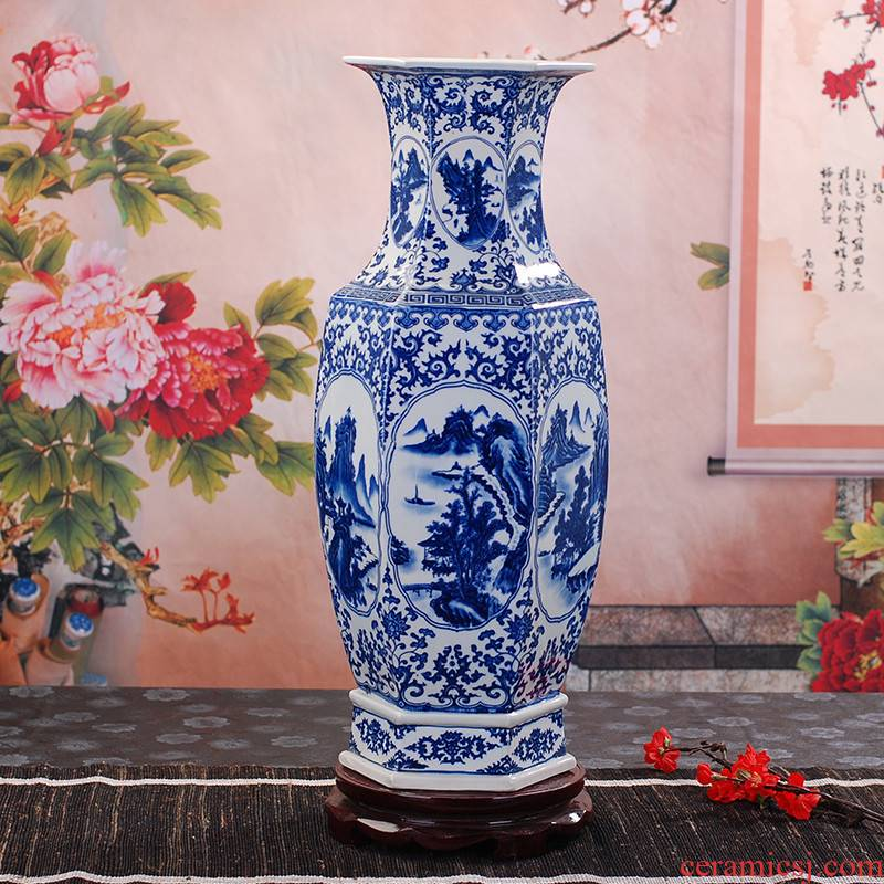 395 hand - made antique blue and white porcelain of jingdezhen ceramics with classical household vase handicraft furnishing articles be born
