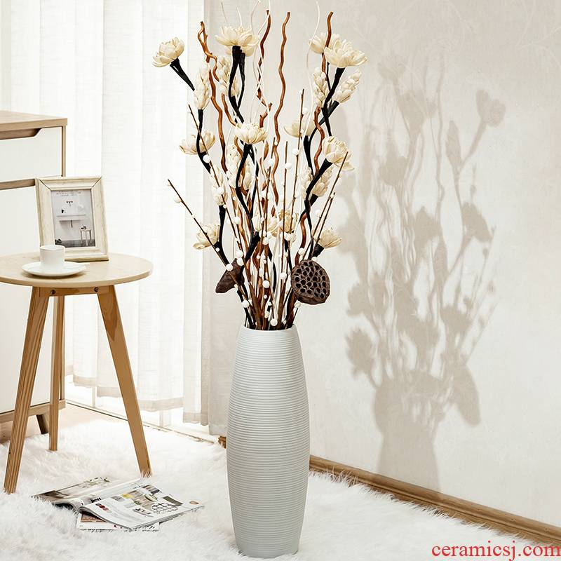 Home sitting room ground vase of jingdezhen ceramics European contracted flower arranging large dry flower decoration accessories furnishing articles