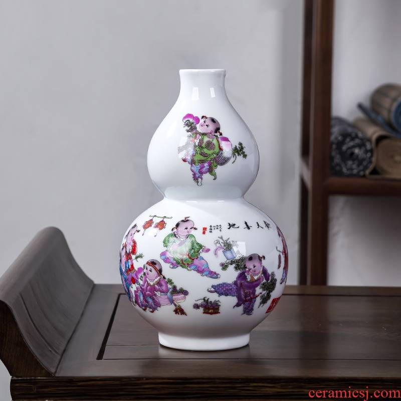 Jingdezhen chinaware bottle gourd floret bottle furnishing articles sitting room of Chinese style household flower arranging rich ancient frame decorative arts and crafts