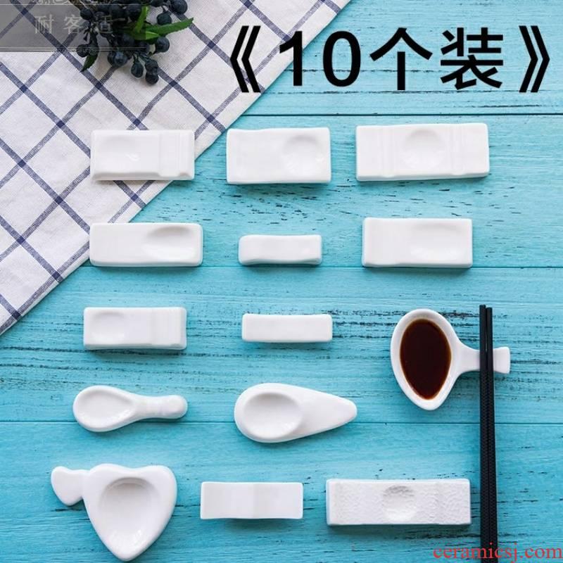 View the best hotel table white ceramic tableware chopsticks rack dual - purpose use chopsticks chopsticks pillow chopsticks spoon holder
