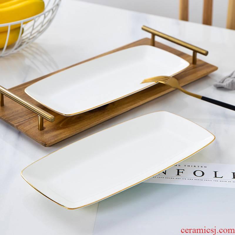 Jingdezhen up phnom penh ipads porcelain Japanese dish dish dish with fish dish creative web celebrity tray rectangle sushi plate