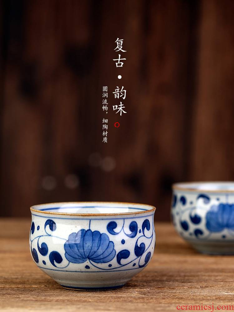 Kunfu tea cup a single master cup single cup size of jingdezhen blue and white hand - made ceramic individual sample tea cup tea set