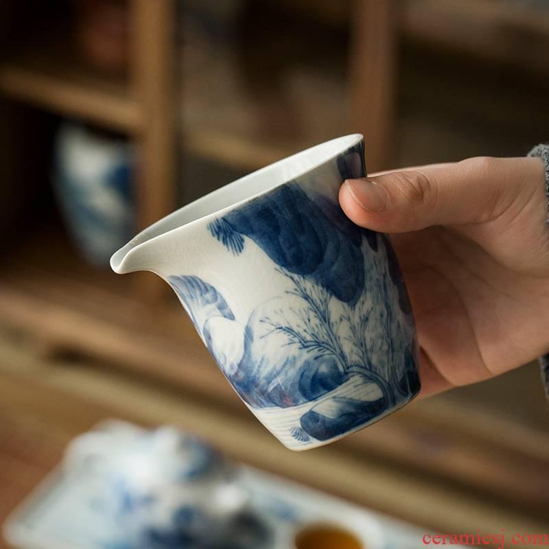 Jingdezhen hand - made porcelain kangxi landscape points of tea ware fair keller kunfu tea, kungfu tea set