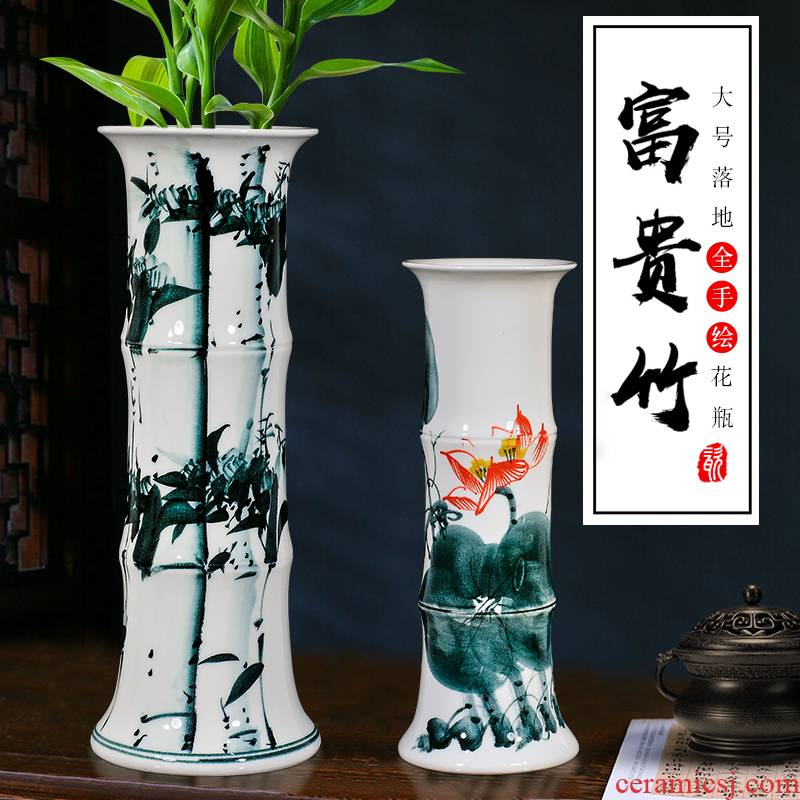 Jingdezhen ceramic tube lucky bamboo vases, flower arranging furnishing articles sitting room be born king straight aquatic culture flower arrangement
