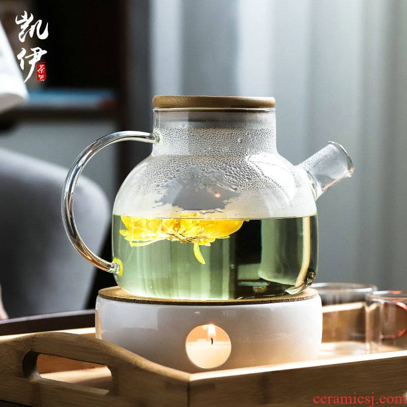 The Heat - resistant glass teapot ceramic based home warm tea stove heating base bamboo tray was suit make tea a cup of tea