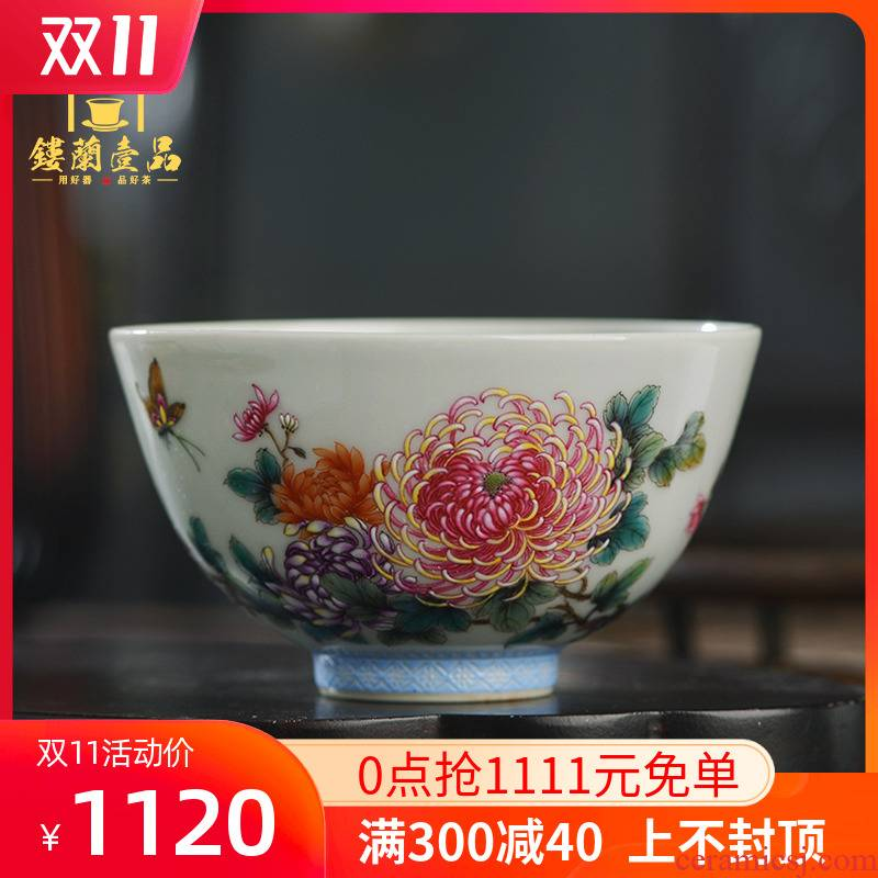 Jingdezhen ceramic all hand - made pastel by master cup kung fu tea tea cup single CPU individual sample tea cup