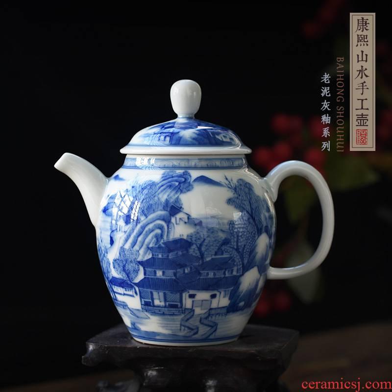 Hundred hong antique hand - made kangxi landscape manual teapot jingdezhen blue and white porcelain tea set ceramic teapot single pot
