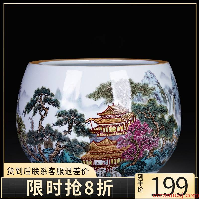 Jingdezhen ceramics aquarium cornucopia Chinese style household desktop furnishing articles TV ark, porch handicraft ornament