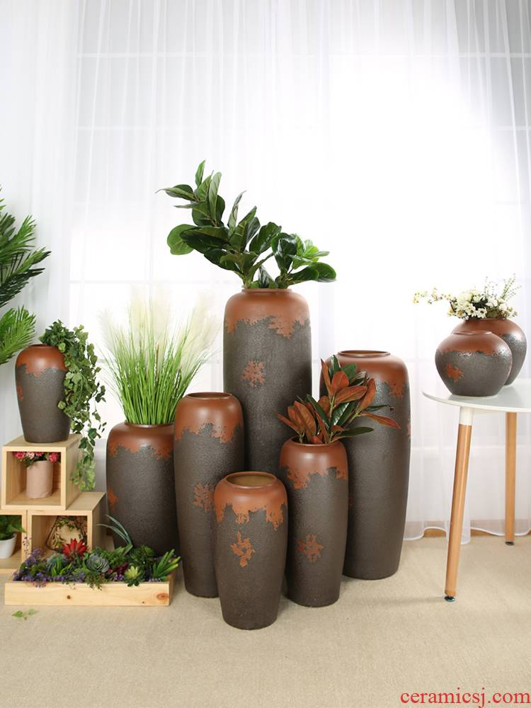 Jingdezhen ceramic coarse pottery vase restoring ancient ways home sitting room hotel is suing flower arranging dried flower POTS to furnishing articles ornaments