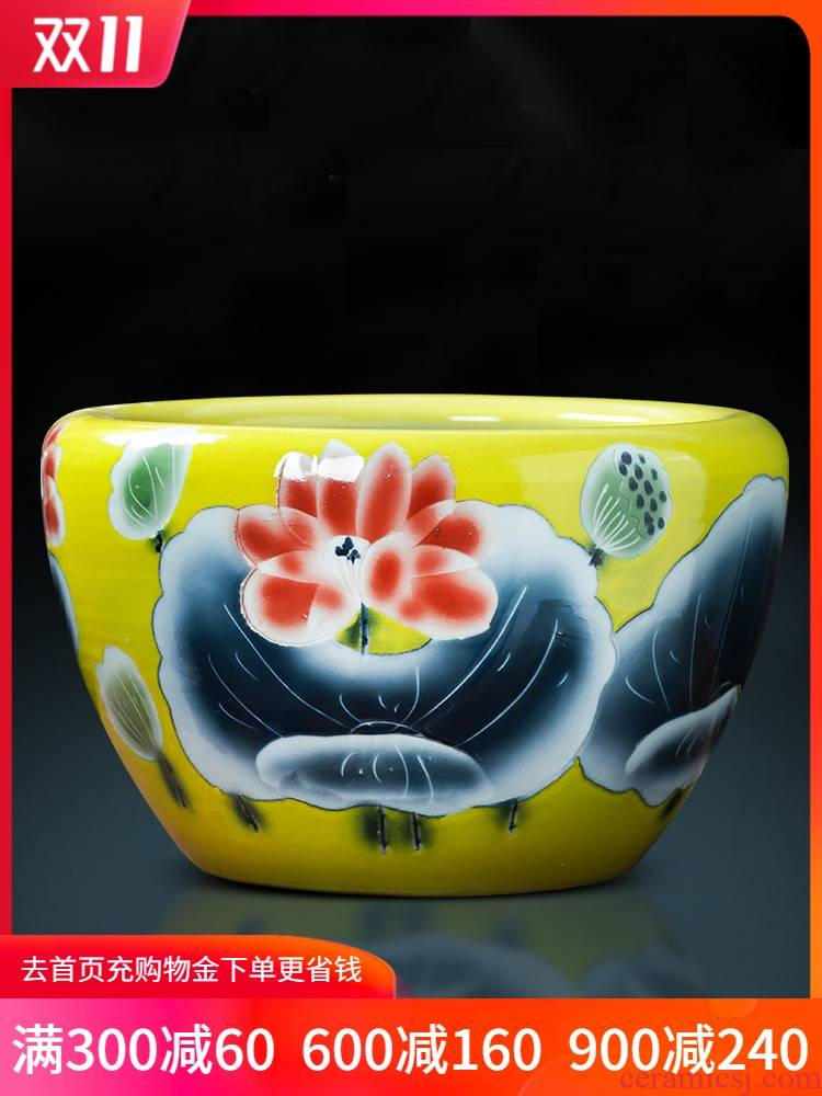 Jingdezhen ceramic aquarium pet gold fish tank water lily basin bowl lotus lotus cylinder cylinder tortoise GangPen sitting room place the flood water