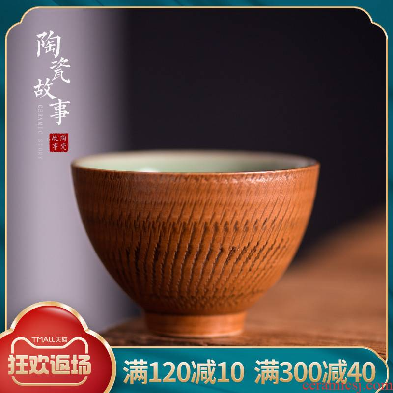 Ceramic story master cup single CPU yaoan - hand jump cut sample tea cup to collect gifts kung fu small tea cups