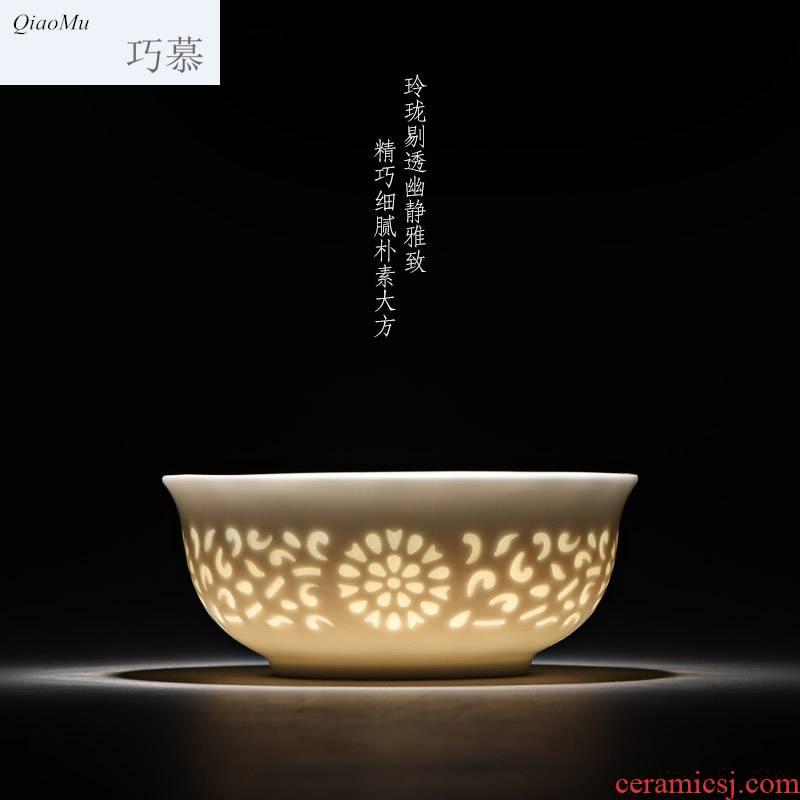 Qiao mu jingdezhen fair exquisite eight head of tea cup checking ceramic household tea personal single cups of tea cups