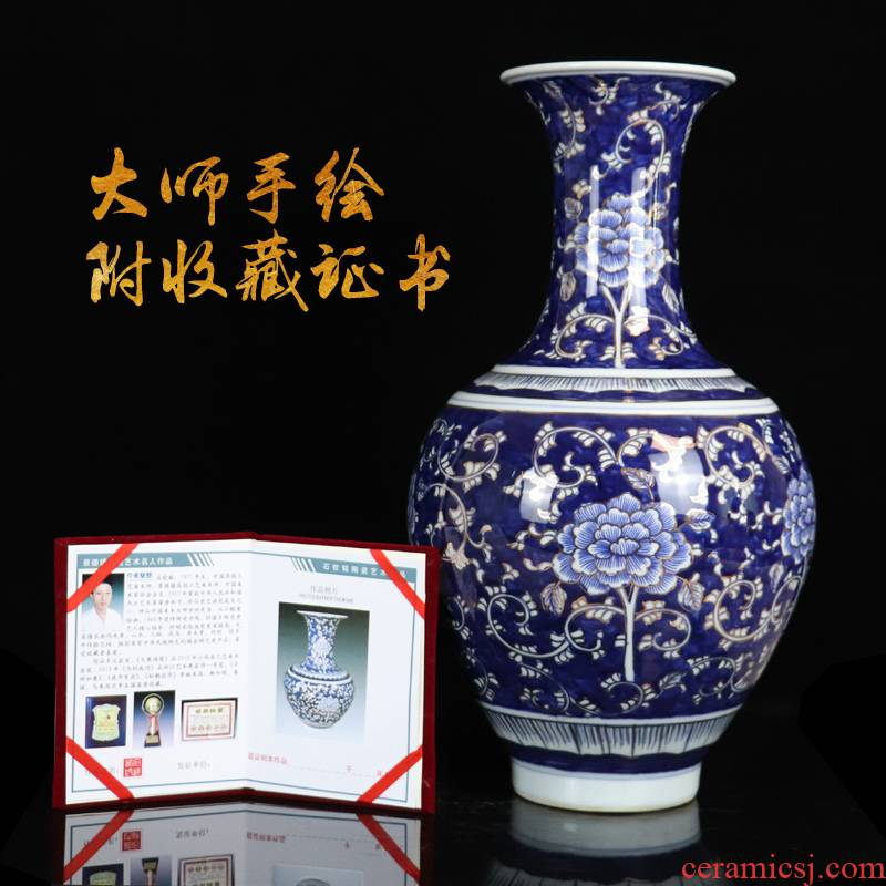 Large hand made blue and white porcelain vase archaize sitting room of jingdezhen ceramics flower arranging Chinese rich ancient frame collection furnishing articles