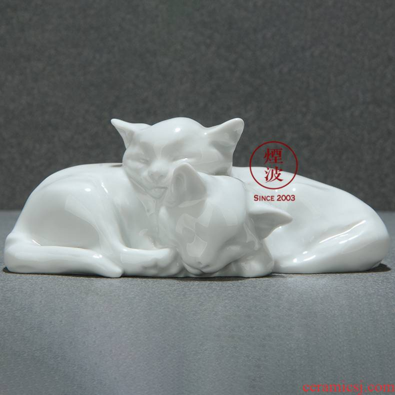 German mason mason animal meisen porcelain porcelain plastic double cat of pure handicraft furnishing articles home act the role ofing is tasted