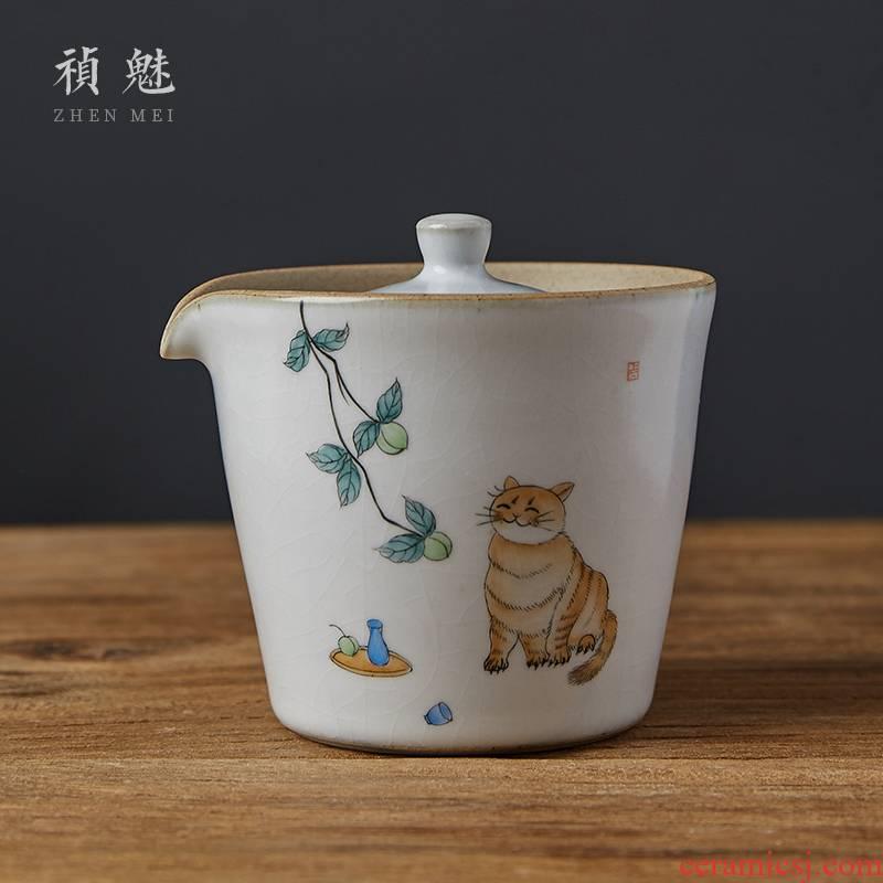 Shot incarnate your up hand - made the cat tureen jingdezhen ceramic cups kung fu tea tea bowl hand grasp pot