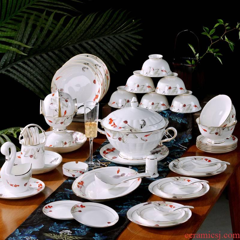 Jingdezhen ceramics bowl plates spoon suit household ipads porcelain tableware housewarming gift porcelain bowl deep dish plate