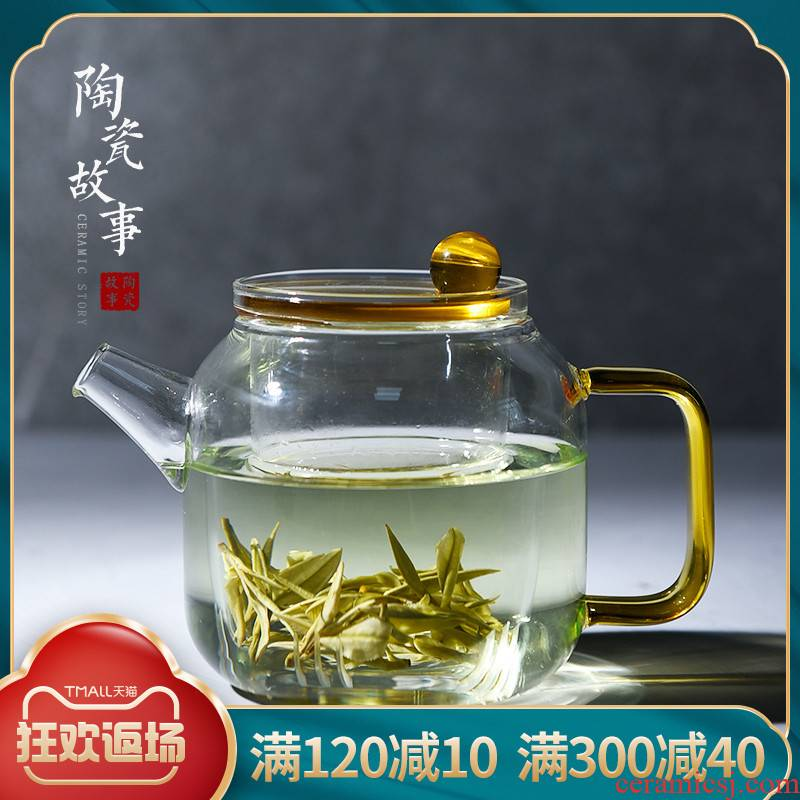Ceramic story glass teapot high - temperature thickening filtering separation of tea, green tea teapot household utensils suits for