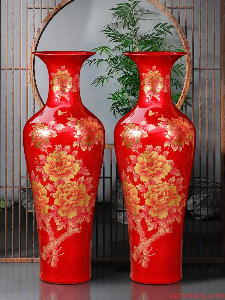 Jingdezhen ceramics of large vases, crystal glaze peony hotel porch Chinese king retro furnishing articles
