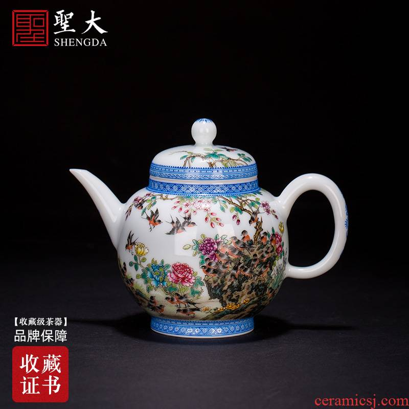 Santa jingdezhen ceramic hand - made heavy industry famille rose in the spring of singing teapot all hand kung fu tea flower pot