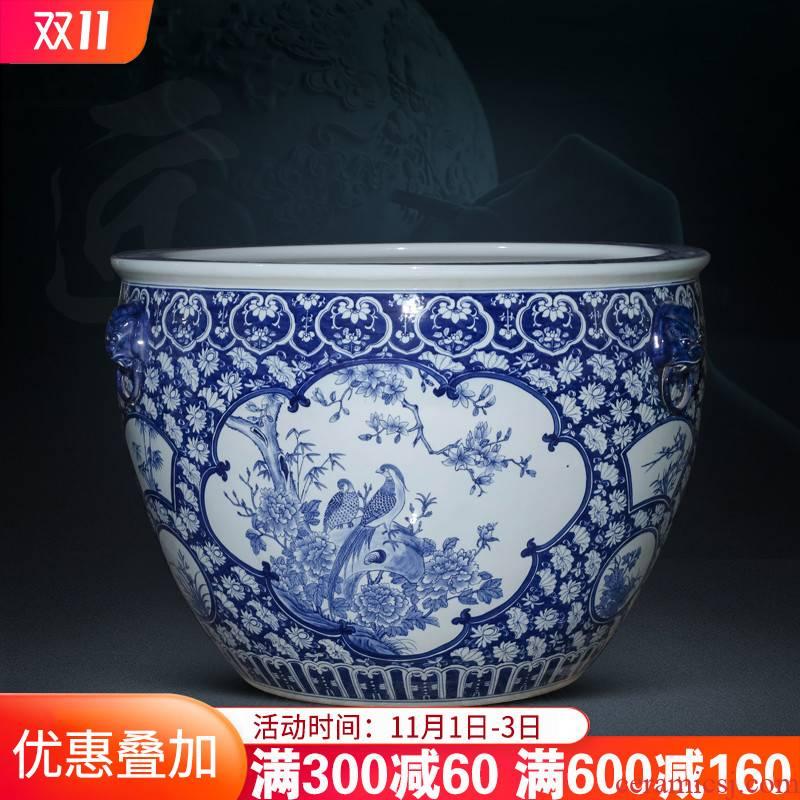 Collectors jingdezhen ceramics hand - made aquarium tank yard extra large water lily lotus is suing the fish bowl