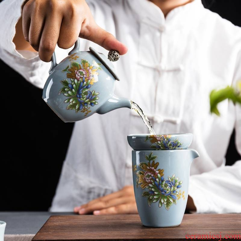 Longed for home opportunely on elder brother up kung fu tea set a complete set of ceramic tea cup lid to use European tea set gift box