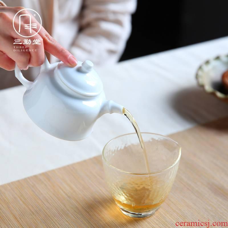 The three frequently kung fu jingdezhen ceramic teapot kung fu tea set small white porcelain teapot manual high white glazed bamboo pot