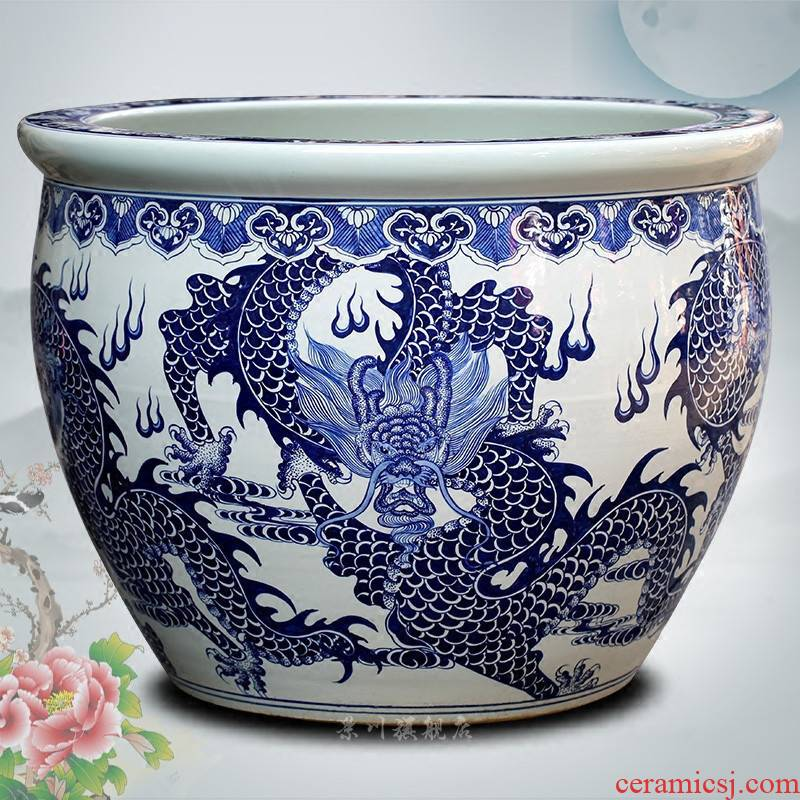 Jingdezhen ceramic hand - made porcelain among fish tank yard ground large sitting room the tortoise water lily cylinder furnishing articles