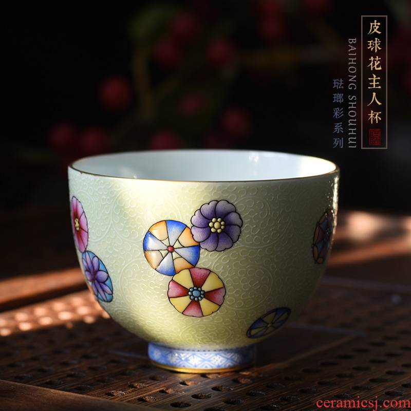 Hundred hong colored enamel ball flower master cup single cup of jingdezhen tea service hand - made ceramic cup sample tea cup by hand