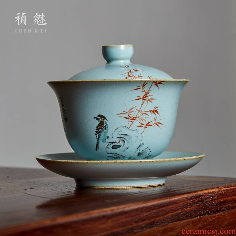 Shot incarnate your up hand - made only three tureen jingdezhen ceramic kung fu tea tea bowl cover cup tea cup