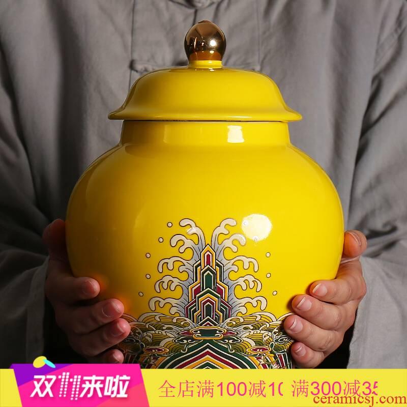 Poly real scene colored enamel large tea pot ceramic seal a kilo tea boxes big yards jar gift box