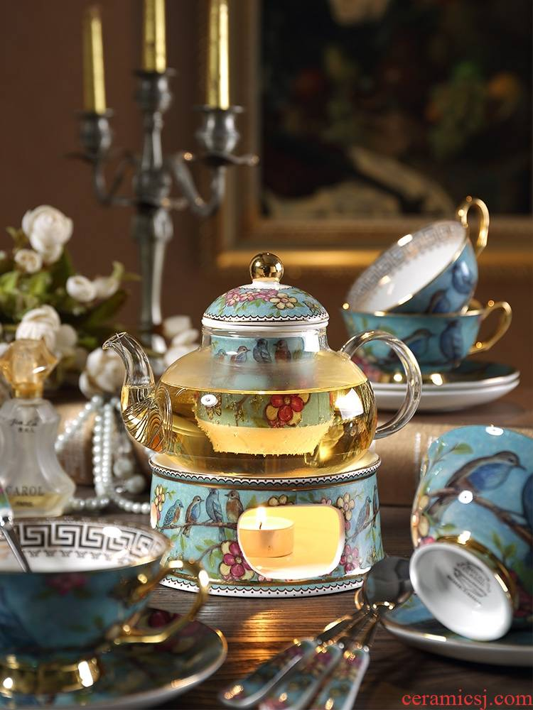 Qiao mu rural wind European ceramic teapot set home afternoon tea tea set with filter based heating base