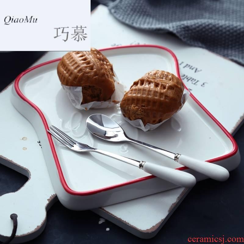 Qiao mu ins posed light breakfast food plate ceramic household toast bread plate Nordic cake dessert plate abnormity
