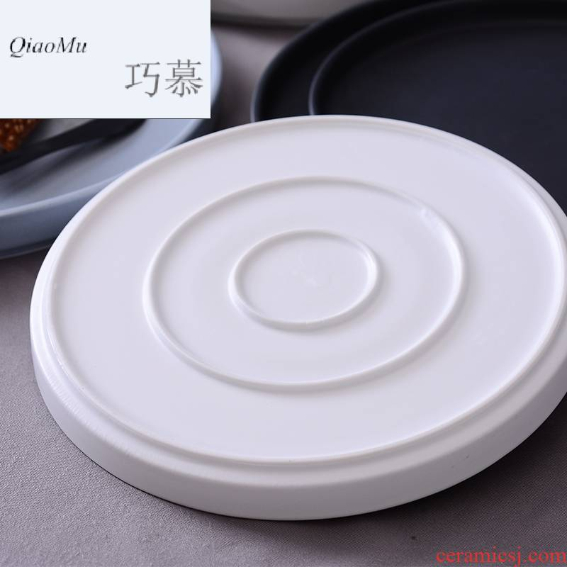 Qiao mu Nordic black steak plate western - style food plate ceramic deep dish plate flat circular large creative move
