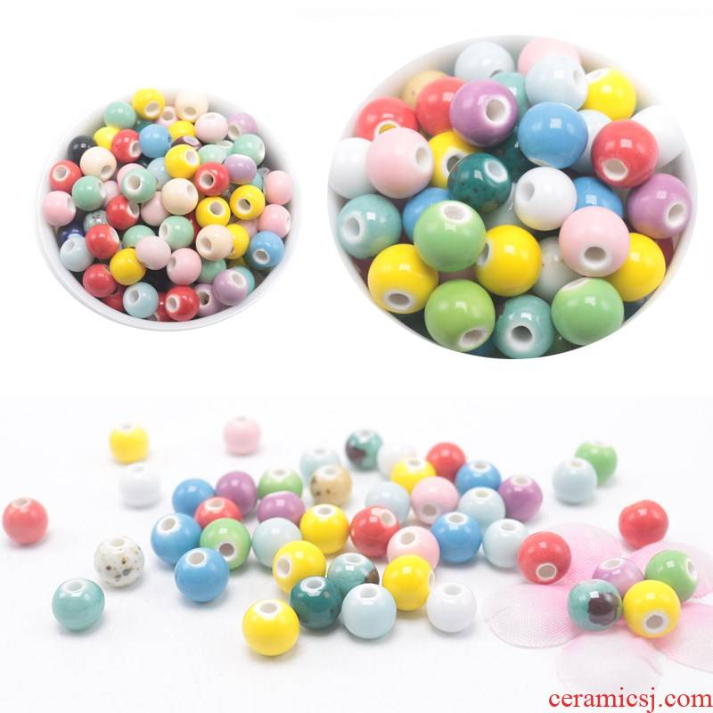 Jingdezhen ceramic beads checking beaded female beads multicolor mixed loose bead diy accessories color bead bracelet necklace