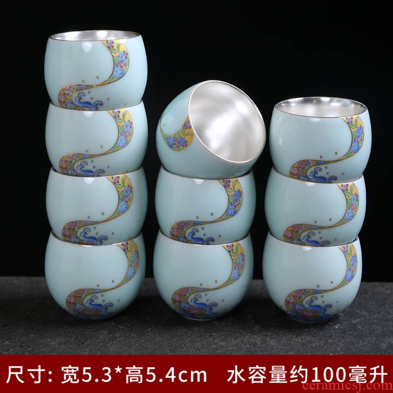 Tasted silver gilding jingdezhen ceramic cups master cup single CPU colored enamel porcelain sample tea cup kung fu tea cups celadon