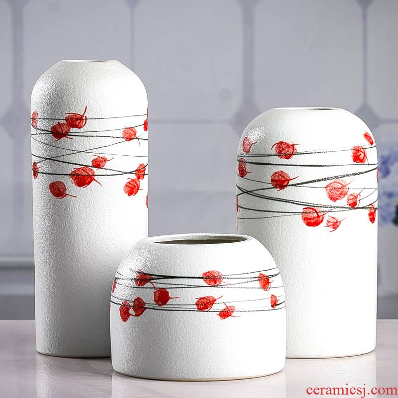 Hand - made ceramics from European vase three - piece furnishing articles sitting room flower arrangement in the Nordic beauty dried flower decoration light key-2 luxury decoration