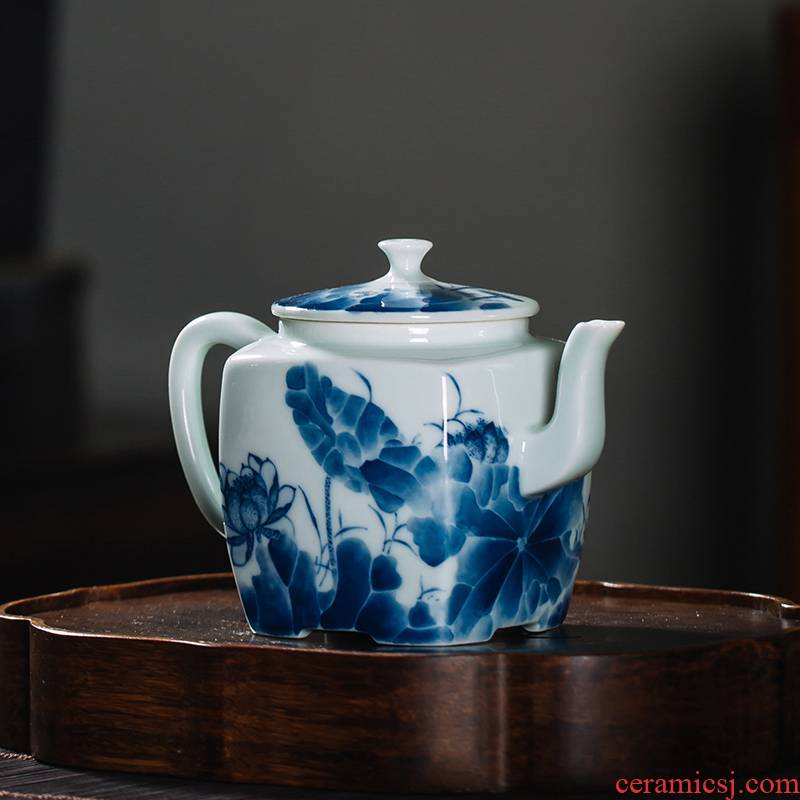 The Owl up jingdezhen blue and white square sketch pot of checking ceramic kung fu tea teapot hand - made antique green glaze