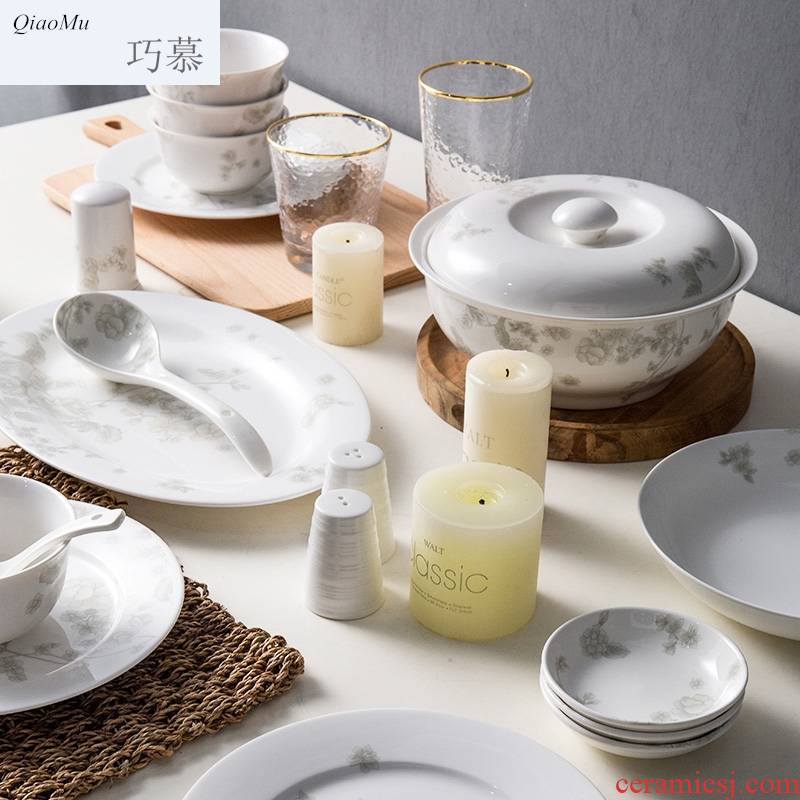 Qiam longed for home opportunely creative ceramic Korean Chinese bowl dishes chopsticks kitchen set tableware gift sets