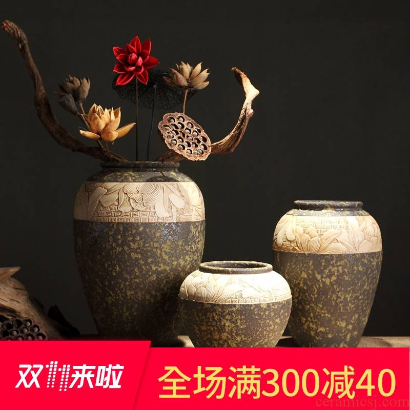 Zen POTS of new Chinese style restoring ancient ways of coarse some ceramic porcelain vase dry flower pot of primitive simplicity manual its decorative furnishing articles