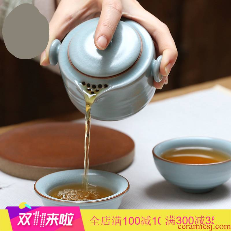 The Poly real boutique scene. Travel kunfu tea set hand grasp portable crack pot of jingdezhen ceramics cup creative cup