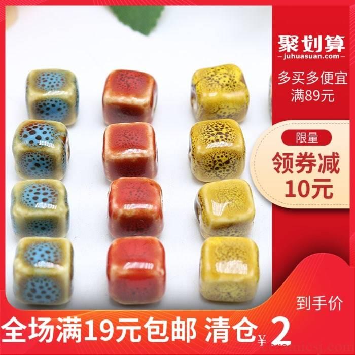 Ceramic square bead bead flower glaze cube diy bracelet sweater chain 0.19 yuan a pack of price