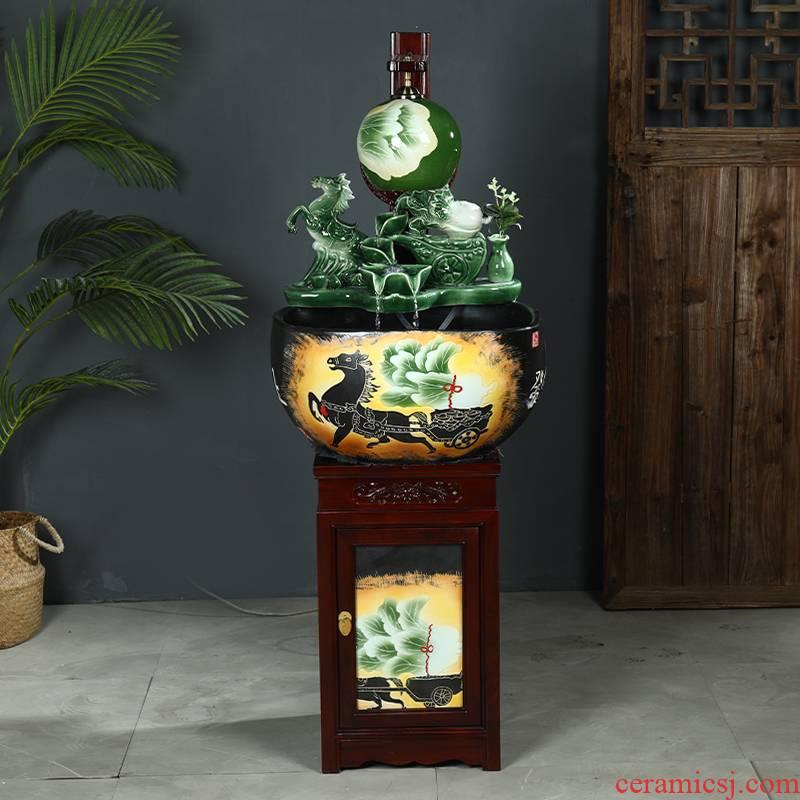 Jingdezhen ceramic goldfish bowl basin aquarium water lily king turtle circulation water bowl lotus lotus cylinder cylinder