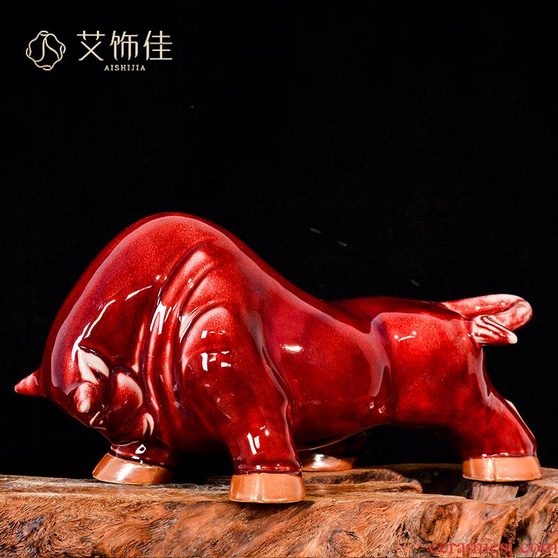 Jingdezhen ceramics up with jun porcelain ruby red bull plutus new Chinese style living room TV cabinet decoration gifts furnishing articles