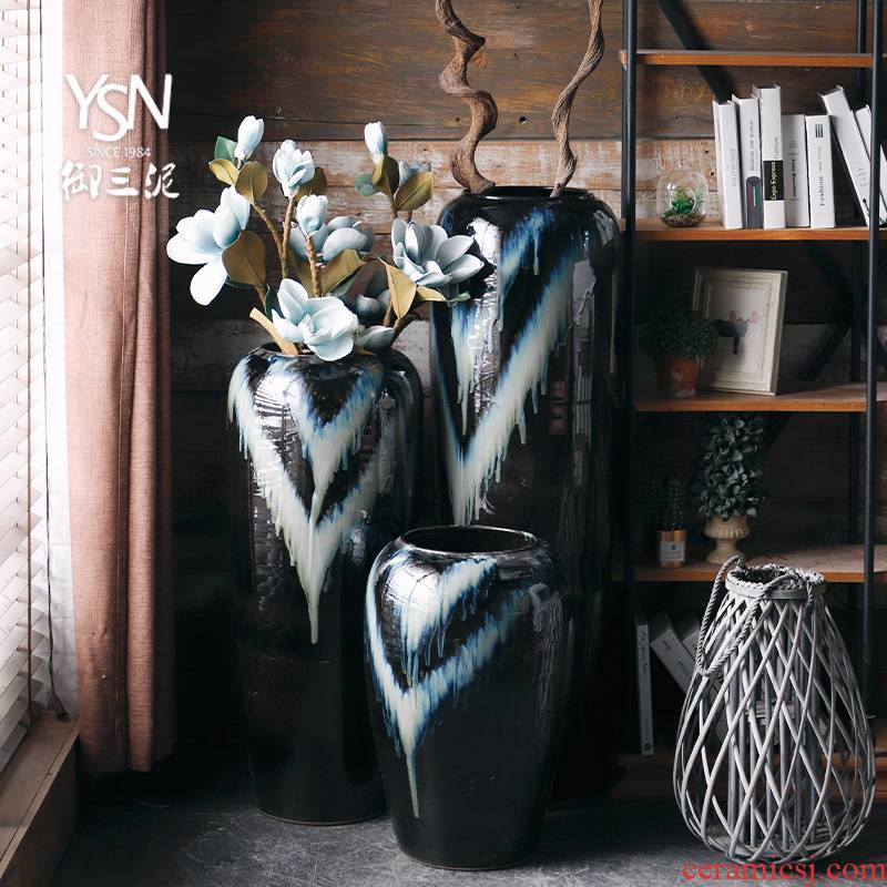 Royal three mud jingdezhen ceramic vase light and decoration flower arranging furnishing articles I and contracted sitting room simulation flower, ground decoration