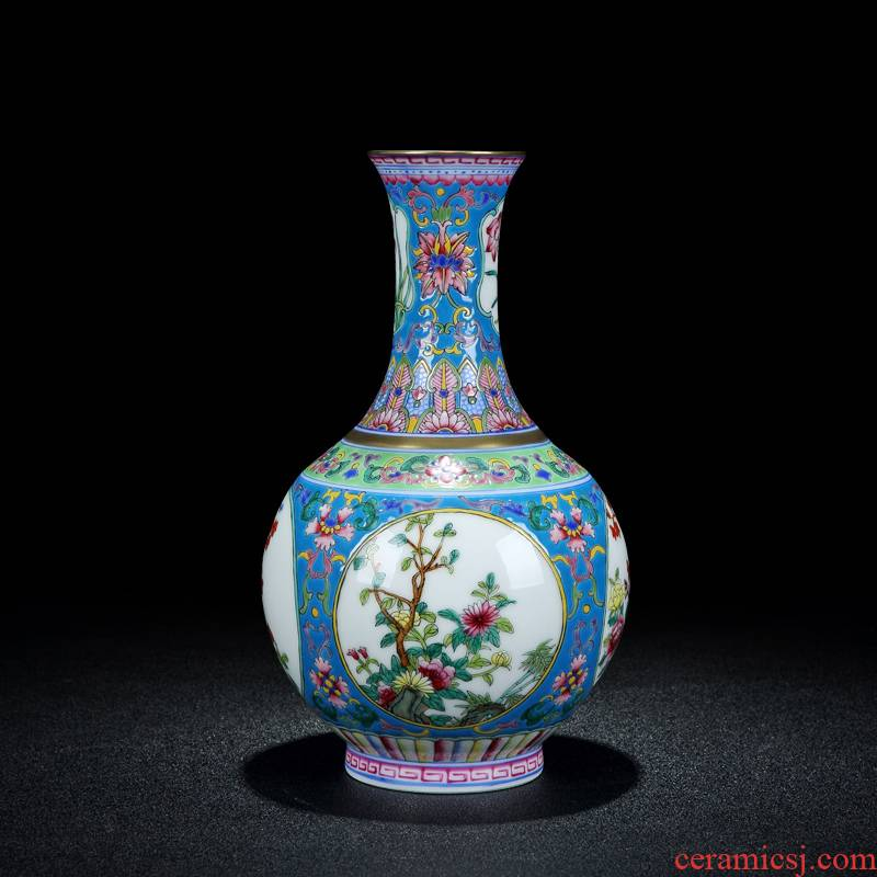 Ceramics vase study Chinese archaize sitting room qianlong official up jingdezhen porcelain enamel bottle furnishing articles
