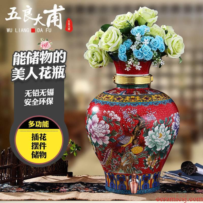 Jingdezhen ceramics Jane European - style Chinese large vases, flowers in modern Chinese style living room jars decorative vase