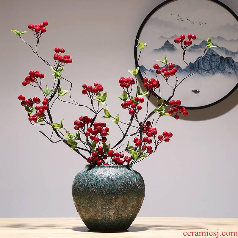 Jingdezhen modern creative craft vase household decoration vase of TV bar face new Chinese pottery and porcelain vase