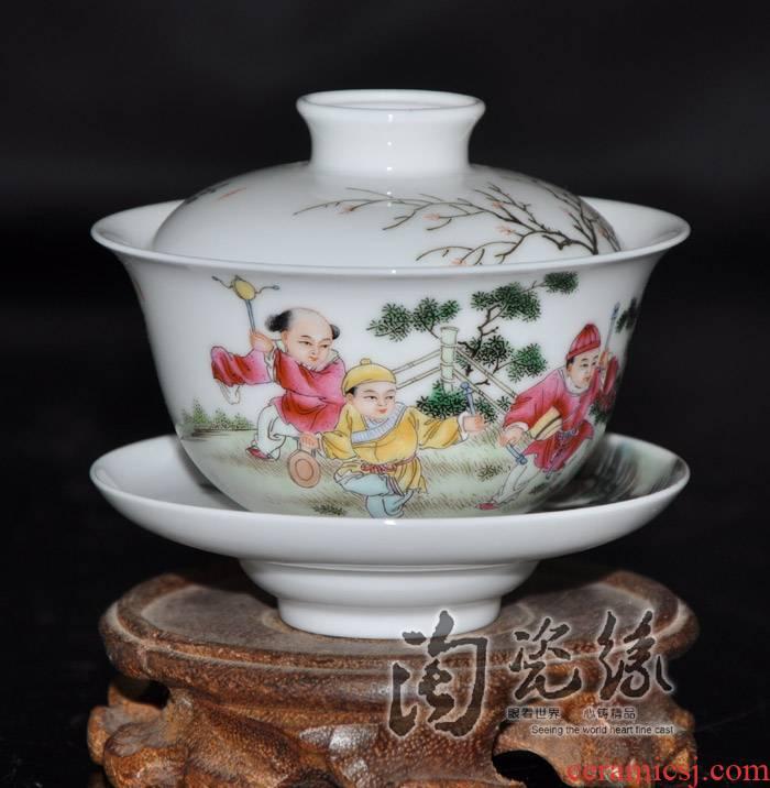 "Flooded, jingdezhen famous Jin Hongxia hand - made famille rose porcelain tea set little tureen three cup"""